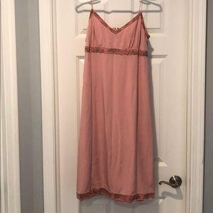 J crew light pink silk dress with floral details.